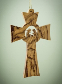 """Ornament-Olive Wood-Holy Family In Flared Cross (3.5"""")   SHOPtheWORD"""