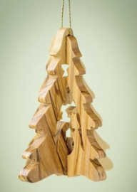 """Ornament-Olive Wood-3D Holy Family In Tree (3"""")  