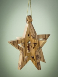 """Ornament-Olive Wood-3D Holy Family In Star (2.5"""")    SHOPtheWORD"""