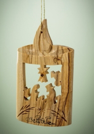 """Ornament-Olive Wood-Holy Family In Candle (3"""")  