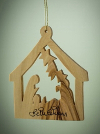 """Ornament-Olive Wood-Holy Family In Stable (3"""") 