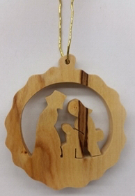 """Ornament-Olive Wood-Wreath With Nativity (2"""")    SHOPtheWORD"""