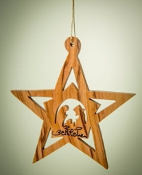 """Ornament-Olive Wood-Star with Stable And Nativity Inside (3"""")  