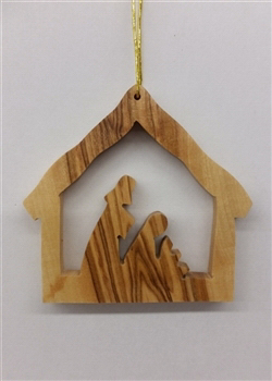 "Ornament-Olive Wood-Stable With Nativity (2"")  