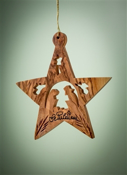 """Ornament-Olive Wood-Star With Nativity And Angels (3"""")  