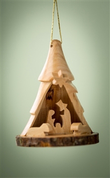 "Ornament-Olive Wood-Bark 3D Tree With Nativity (2.5"")  
