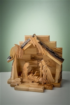 "Nativity-Olive Wood-One Piece With Silhouette Figures (6"" x 7"")  